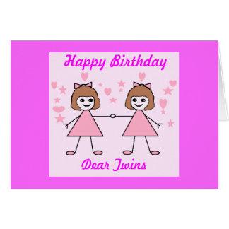 Gemelos del chica, feliz cumpleaños tarjeta
