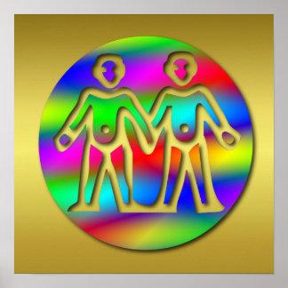 Gemelos del color del arco iris de los géminis impresiones