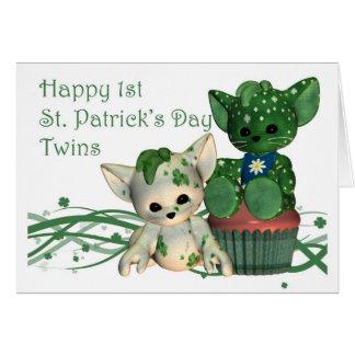 Gemelos del día de 1r St Patrick feliz Tarjeta De Felicitación