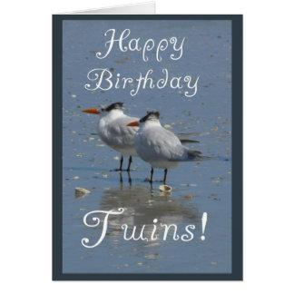 ¡Gemelos del feliz cumpleaños! - Dos pájaros Tarjeta