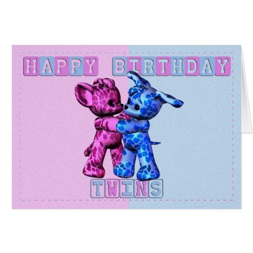 Gemelos del feliz cumpleaños tarjeta
