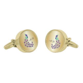 Gemelos Dorados Diseño con monograma del pavo real del oro