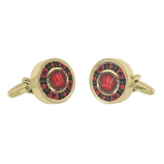 Gemelos Dorados Ficha de póker roja, negra y del oro - monograma