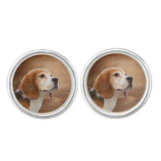 Gemelos Las mancuernas redondas del beagle, se platean