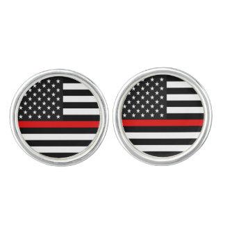 Gemelos Línea roja fina bandera americana