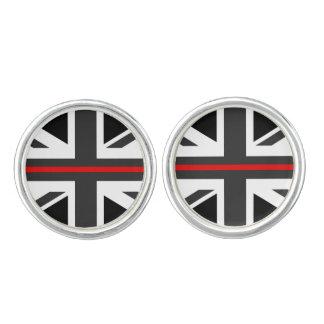 Gemelos Línea roja fina bandera de Reino Unido
