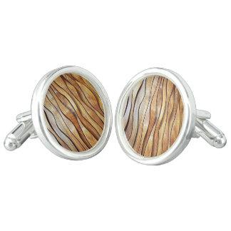 Gemelos mancuernas de madera del diseño