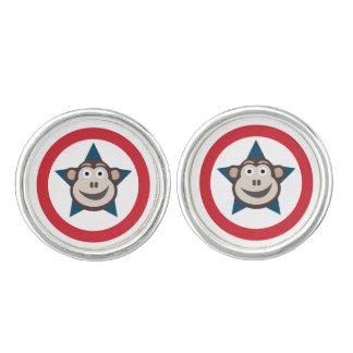 Gemelos Mancuernas redondas del mono estupendo (plata