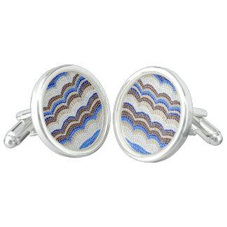 Gemelos Mancuernas redondas del mosaico azul