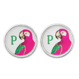 Gemelos Mancuernas rosadas del personalizado del loro de