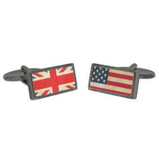 Gemelos Metalizados Bandera BRITÁNICA y mancuernas del bronce de cañón