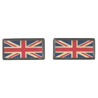 Gemelos Metalizados Bandera vieja Union Jack de Reino Unido del Grunge