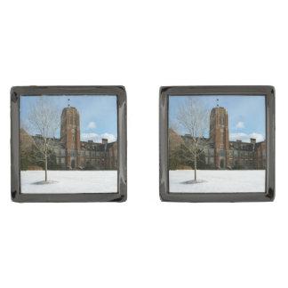Gemelos Metalizados Rockwell en invierno en la universidad de la