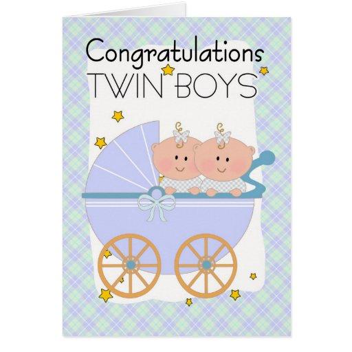 Gemelos - muchachos gemelos de la enhorabuena en u tarjetas