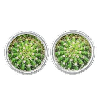 Gemelos Plata de las mancuernas de los cactus plateada