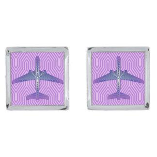 Gemelos Plateados Aeroplano del art déco, púrpura violeta y gris