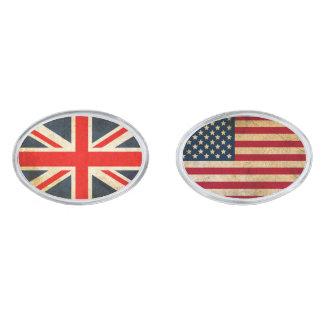 Gemelos Plateados Bandera BRITÁNICA y mancuernas del óvalo de la