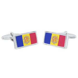 Gemelos Plateados Bandera de las mancuernas de Andorra