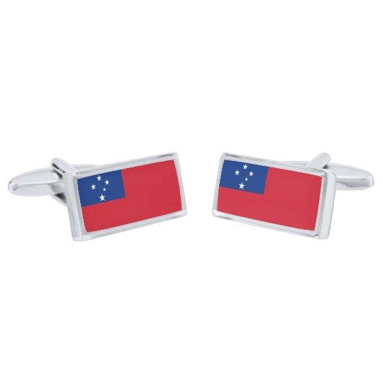 Gemelos Plateados Bandera de las mancuernas de Samoa