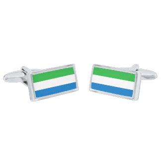 Gemelos Plateados Bandera de las mancuernas del Sierra Leone