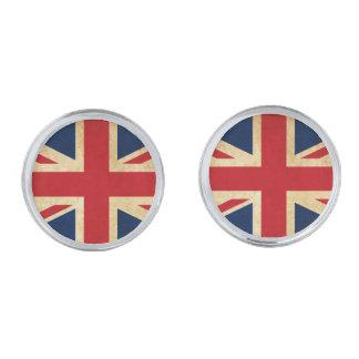Gemelos Plateados Bandera vieja Union Jack de Reino Unido del Grunge