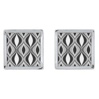 Gemelos Plateados Diamantes modernos, negro, blanco y gris de los