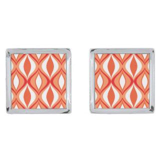 Gemelos Plateados Diamantes, naranja y blanco modernos de los