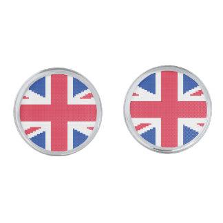Gemelos Plateados Diseño original Union Jack del punto de cruz