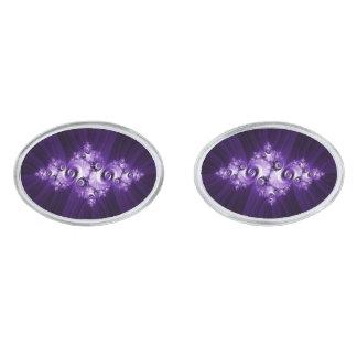 Gemelos Plateados Fractal blanco en fondo púrpura