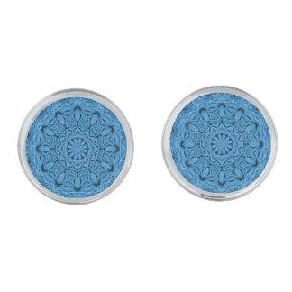 Gemelos Plateados Mancuernas azules decorativas del vintage, 4