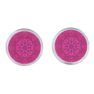 Gemelos Plateados Mancuernas rosadas del vintage de la flor, 4