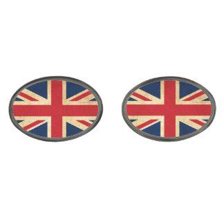 Gemelos Plomizos Bandera vieja Union Jack de Reino Unido del Grunge