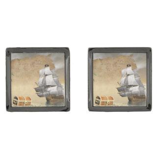 Gemelos Plomizos Barco pirata que encuentra el tesoro - 3D rinden