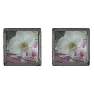 Gemelos Plomizos Orquídeas blancas y púrpuras
