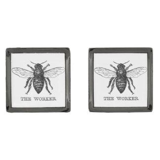 Gemelos Plomizos Vintage del abejorro de la abeja de trabajador de