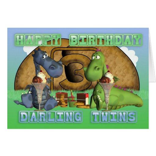 Gemelos queridos del feliz cumpleaños, pares de dr felicitación