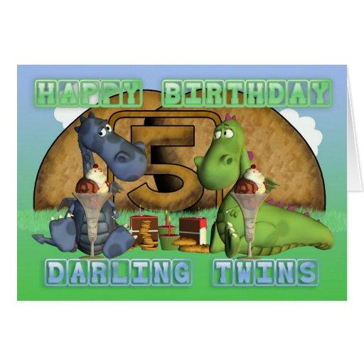Gemelos queridos del feliz cumpleaños, pares de dr tarjetas