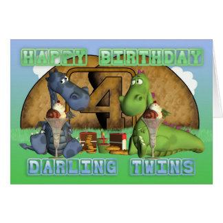 Gemelos queridos del feliz cumpleaños, pares de tarjetas