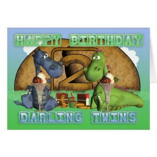 Gemelos queridos del feliz cumpleaños, pares de tarjeta de felicitación
