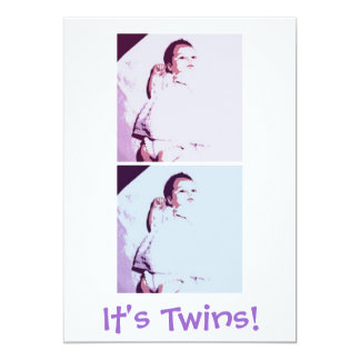 Gemelos recién nacidos del bebé invitación 12,7 x 17,8 cm