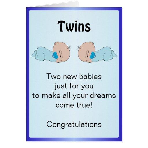 Gemelos recién nacidos del bebé felicitacion