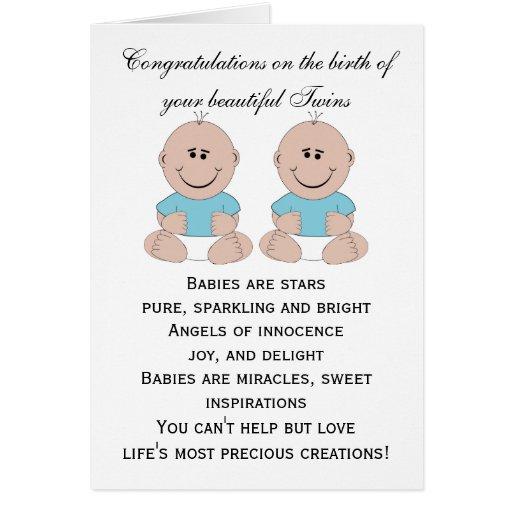 Gemelos recién nacidos del bebé tarjetas