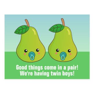 Gemelos recién nacidos - peras lindas del dibujo a tarjetas postales