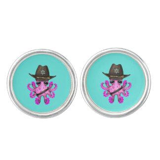 Gemelos Sheriff rosado lindo del pulpo del bebé