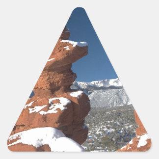 Gemelos siameses y pico de los lucios pegatina triangular