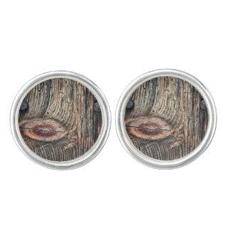 Gemelos Tablón de las mancuernas de madera (plata