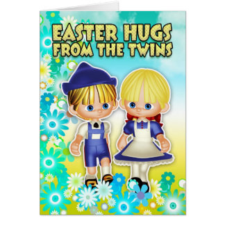 Gemelos - tarjeta de pascua, dos niños en flores