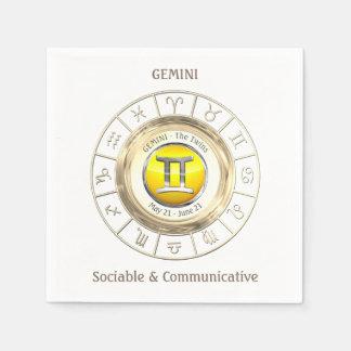 Géminis - la muestra del zodiaco de los gemelos servilletas desechables