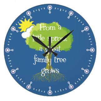 Genealogía poco árbol de familia del brote reloj redondo grande