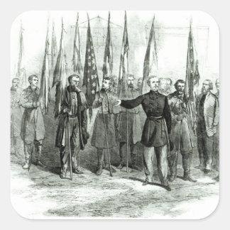 General Custer Calcomanía Cuadradase